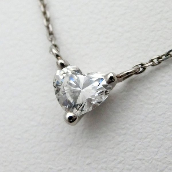 ハートシェイプダイヤモンドネックレス D 0.301ct F-SI1 40cm Pt900 中央宝石研究所ソーティング付