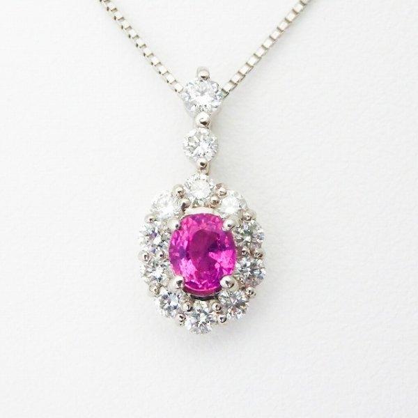 ピンクサファイア ダイヤモンドネックレス PS 0.61ct D 0.56ct 45cm Pt900