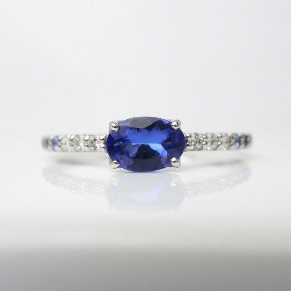 タンザナイト ダイヤモンド サファイアリング TA 0.49ct D 0.06ct SA 0.07ct Pt900