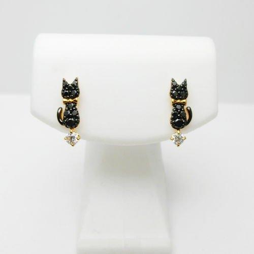 黒猫 ブラックダイアモンド ホワイトダイアモンドイエローゴールドピアスBD 0.18ctD0.10ct K18YG C-LINE