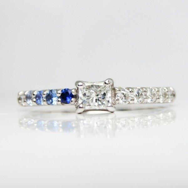 特選ダイヤモンド サファイア ピンキーリング D 0.15ct F-VS2 D 0.07ct 中央宝石研究所ソーティング付