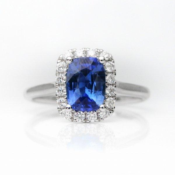 サファイア ダイヤモンドリング SA 1.01ct D 0.18ct K18WG