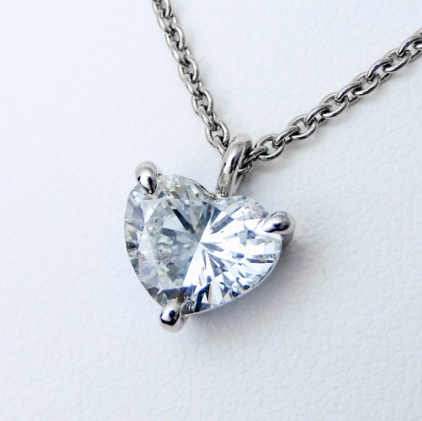 ハートシェイプダイヤモンドネックレス D 1.639ct J-I1 45cm Pt900 中央宝石研究所鑑定書付