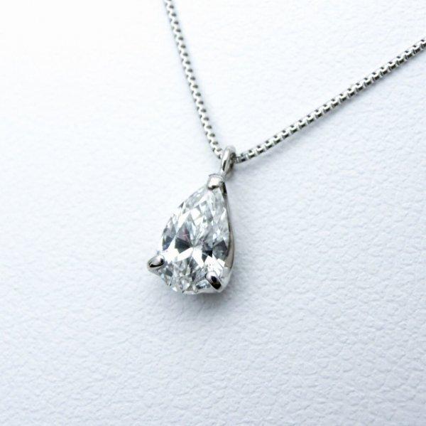 ペアシェイプダイヤモンドネックレス D 0.408ct F-SI1 45cm Pt900 中央宝石研究所鑑定書付