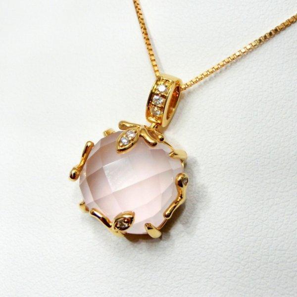 ローズクォーツ ダイヤモンドネックレス  7.46ct D 0.06ct 45cm K18YG C-LINE