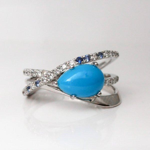 ターコイズ ダイヤモンド サファイアリング TQ 1.01ct D 0.22ct SA 0.05ct PT900