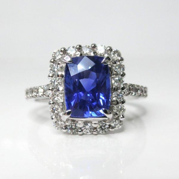 非加熱ブルーサファイア ダイヤモンドリング SA 2.21ct D 0.51ct GIA鑑別書付 Pt900