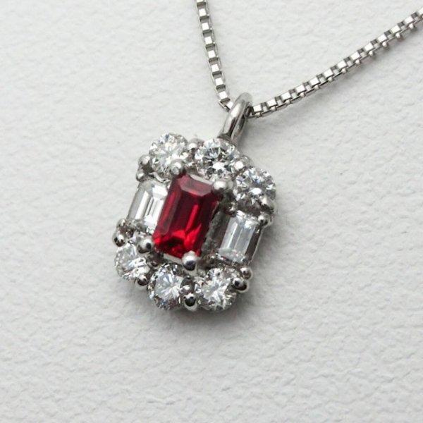 ピジョンブラッドカラールビー ダイヤモンドネックレス R 0.10ct D 0.23ct 45cm Pt950