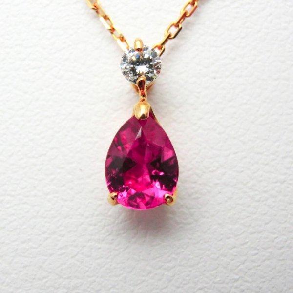 ルベライト ダイヤモンドネックレス RU 0.50ct D 0.07ct 45cm K18YG