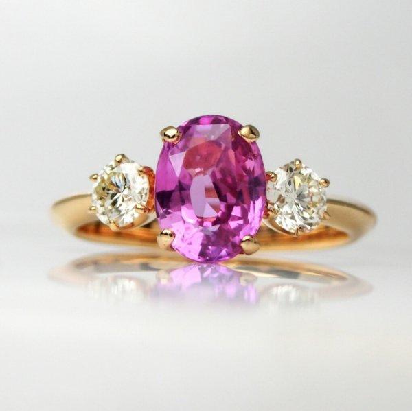 スリランカ産ピンクサファイア ダイヤモンドリング PS 1.56ct D 0.41ct K18YG GIA鑑別書付