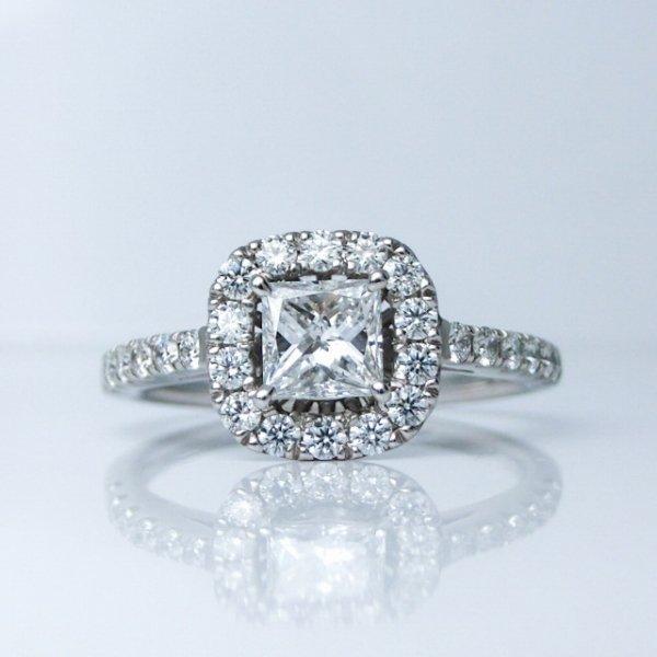 Dカラープリンセスカットダイヤモンド H&Cダイヤモンドリング D 0.456ct D-SI1 D 0.41ct Pt900 中央宝石研究所鑑定書付 【即納】