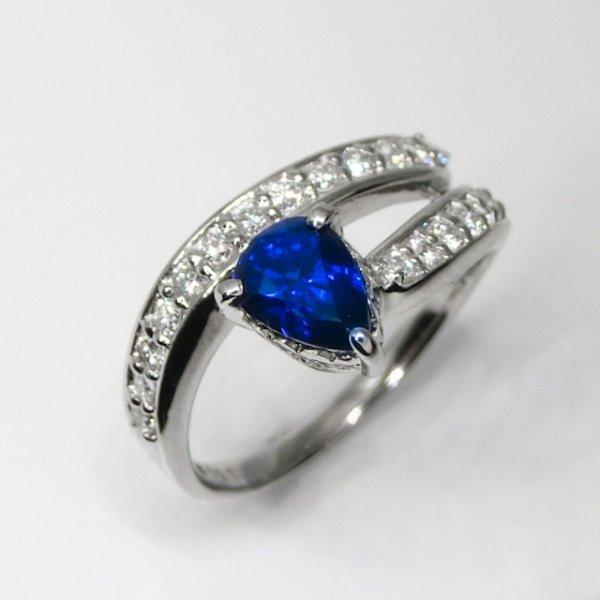 非加熱ロイヤルブルーサファイア ダイヤモンドリング SA 1.11ct D 0.40ct Pt900 GRL鑑別書付