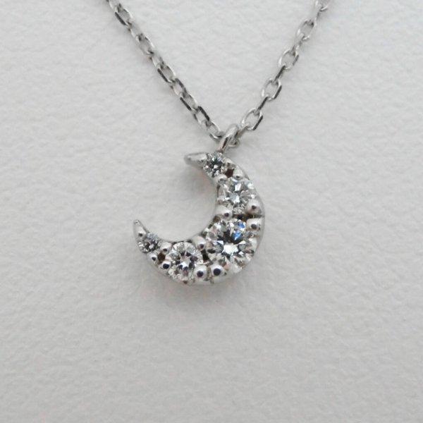 月モチーフダイヤモンドネックレス D 0.08ct 40cm K18WG 【即納】