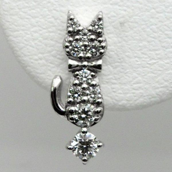 白猫ダイヤモンドピアス D 0.26ct K18WG