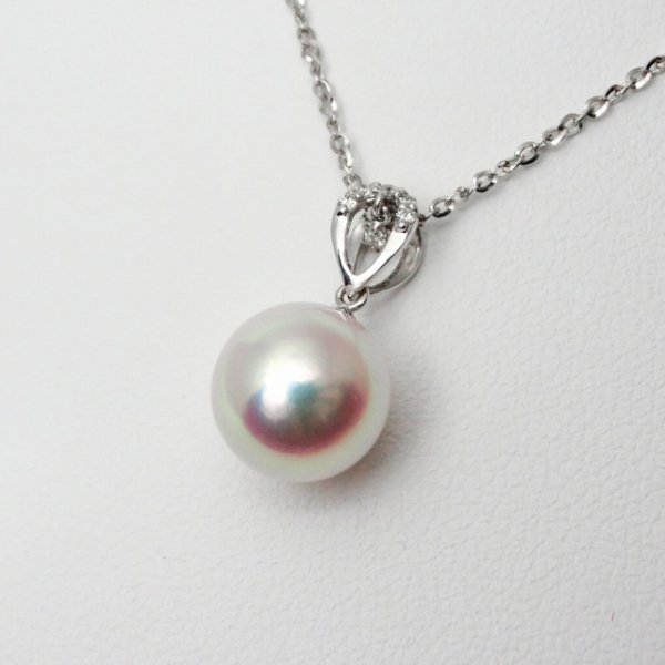 特選あこや真珠 ダイヤモンドネックレス P 9.05mm D 0.03ct 45cm K18WG 【即納】