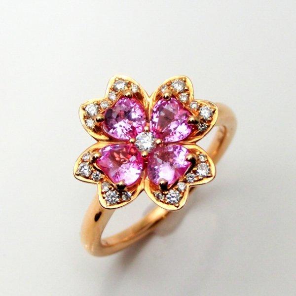 ピンクサファイア フラワーモチーフダイヤモンドリング SA 1.11ct D 0.16ct K18PG