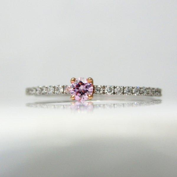 ピンクダイヤモンドリング D 0.068ct FLP-VS2 D 0.12ct Pt900/K18PG 中央宝石研究所鑑定書付