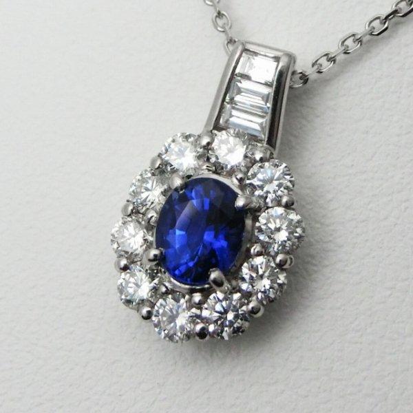 ロイヤルブルーカラーサファイア ダイヤモンドネックレス SA 0.821ct D 0.73ct 45cm Pt900 【即納】