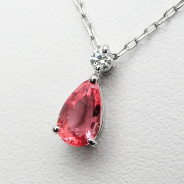非加熱パパラチアサファイア H&Cダイヤモンドネックレス PDS 0.67ct D 0.04ct 45cm Pt900