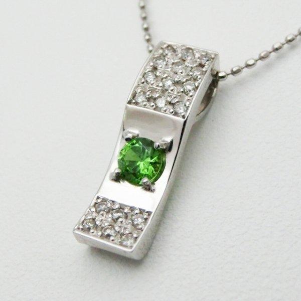 ロシア産デマントイドガーネット ダイヤモンドネックレス DTG 0.225ct D 0.14ct 45cm K18WG
