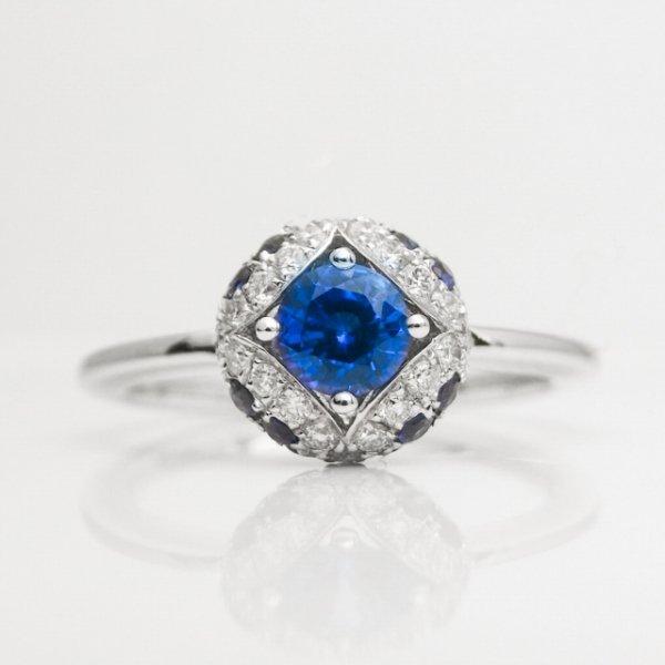 コーンフラワーカラーサファイア ダイヤモンドリング SA 0.88ct D 0.17ct K18WG