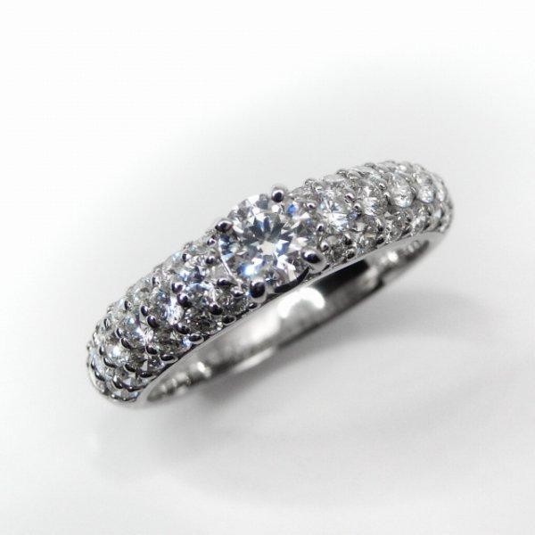 Dカラーダイヤモンド H&Cダイヤモンドパヴェリング D 0.281ct D-SI1-3EX 0.71ct Pt900 中央宝石研究所ソーティング付 BOUTIQUE LINE