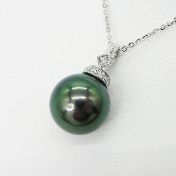 オーロラピーコック 黒蝶真珠 ダイヤモンドネックレス P 11.1mm D 0.05ct 45cm K18WG