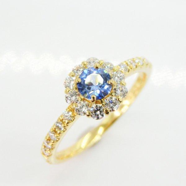 ベニトアイト H&Cダイヤモンドリング BI 0.28ct D 0.28ct K18YG 日独宝石研究所鑑別書付