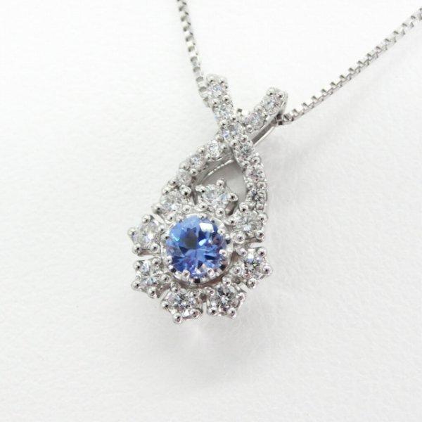 ベニトアイト ダイヤモンドネックレス BI 0.15ct D 0.16ct 45cm Pt900 日独宝石研究所鑑別書付