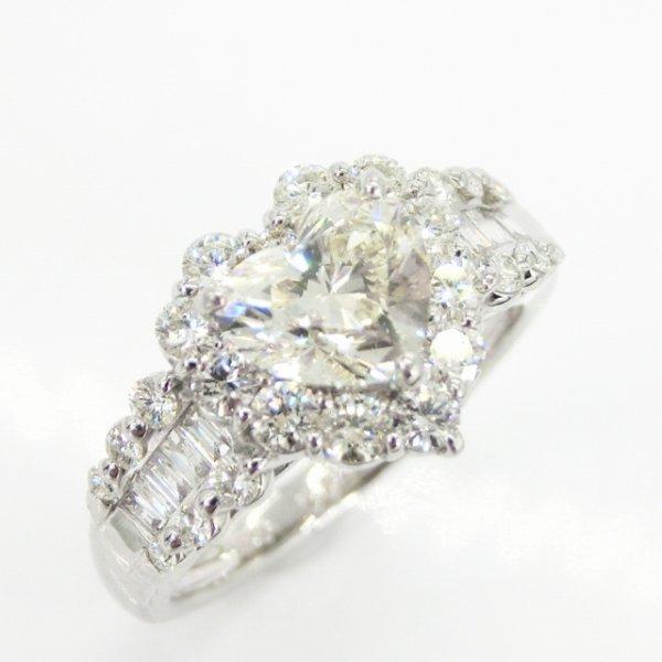 ハートシェイプダイヤモンドリング D 1.01ct VLY-SI1 D 0.69ct Pt900 中央宝石研究所鑑定書付