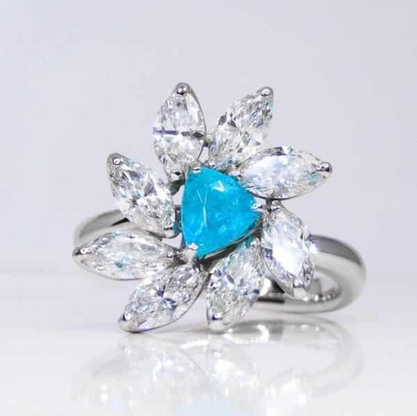 ブラジル バターリア産パライバトルマリン マーキスダイヤモンドリング PA 0.50ct D 1.49ct  Pt900 中央宝石研究所鑑別分析書付