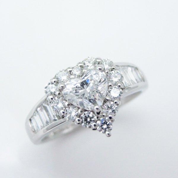 ハートシェイプダイヤモンド リング D 0.513ct D-SI2 0.70ct Pt900 中央宝石研究所鑑定書付