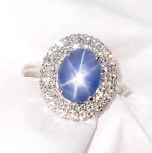 スリランカ産非加熱スターサファイア ダイヤモンドリング SA 2.90ct D 0.94ct Pt900 GIA鑑別書付