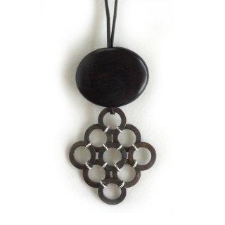 N-184b 銅斑紋 9hoopネックレス黒