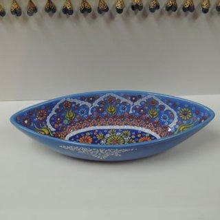 ニメットさんのキュタフヤ陶器 (ボート皿 L ライトブルー)