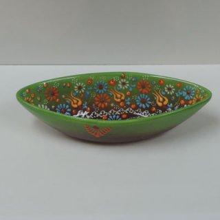 ニメットさんのキュタフヤ陶器 (ボート皿 M グリーン×ブラウン)