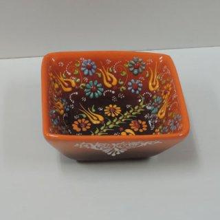 ニメットさんのキュタフヤ陶器 (角型ボウル S オレンジ×ブラウン01)