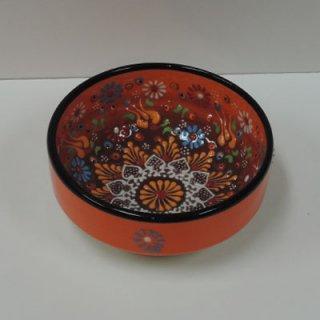 ニメットさんのキュタフヤ陶器 (平皿ナザールボウル S オレンジ×ブラウン02)