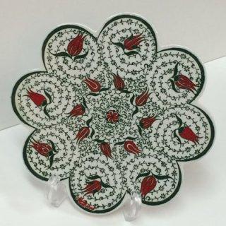 キュタフヤ陶器タイル ( ホワイト&グリーン × チューリップ )