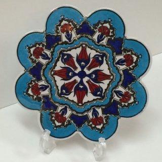 キュタフヤ陶器タイル ( ターコイズブルー × チューリップ・カーネーション )