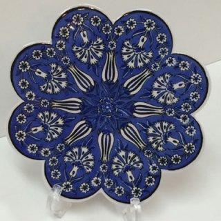 キュタフヤ陶器タイル ( ブルー × チューリップ・カーネーション )