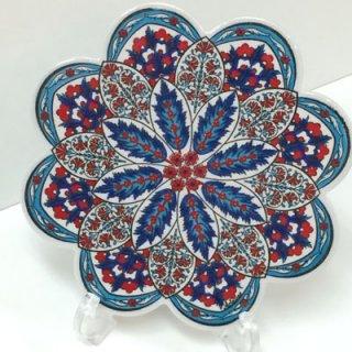 キュタフヤ陶器タイル ( ブルー&ホワイト × カーネーション )