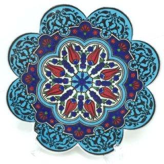 キュタフヤ陶器タイル ( ターコイズブルー&ブルー × チューリップ・カーネーション )