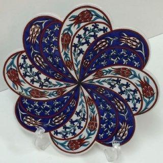 キュタフヤ陶器タイル ( ブルー&ホワイト × チューリップ )