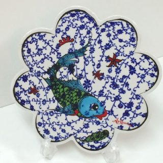 キュタフヤ陶器タイル ( ブルー&ホワイト × さかな )