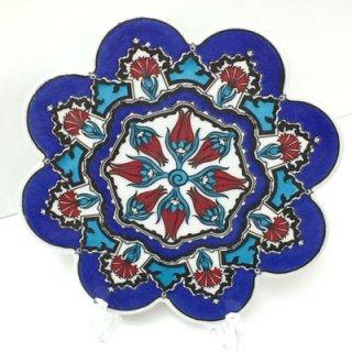 キュタフヤ陶器タイル ( ターコイズブルー&ブルー × チューリップ・カーネーション 02 )