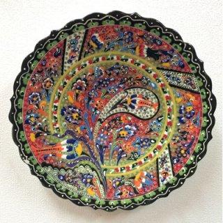 キュタフヤ陶器絵皿 ( LL ブラック&グリーン 01 )