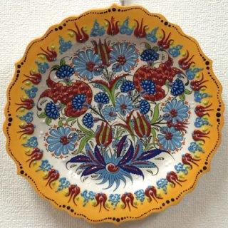 キュタフヤ陶器絵皿 ( L イエロー×フラワー 01 )