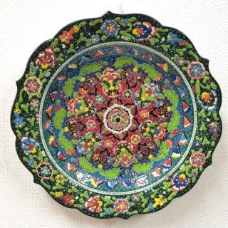 キュタフヤ陶器絵皿 ( LL グリーン&イエローグリーン 01 )