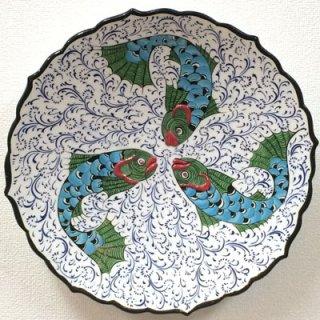 キュタフヤ陶器絵皿 ( LL 3匹のさかな 01 )